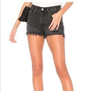 Levi's 501 Distressed Black denim cut off shorts